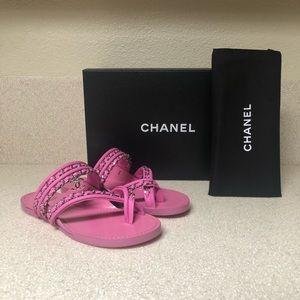 CHANEL Chain Calfskin Thong Sandal Pink 36 / 6